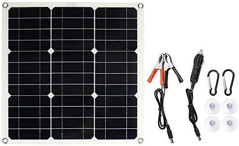Ryyland-Home Sonnenkollektor 18V / 5V 420 * 420 * 2.5MM Sonnenkollektor-Ladegerät mit USB-Schnittstelle Einzel Solar-Panel tragbar (Color : Black, Size : 25W)
