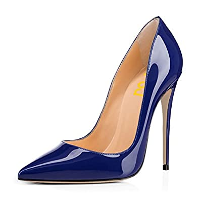FSJ Women Fashion Pointed Toe Pumps High Heel Stilettos Sexy Slip On Dress Shoes Size 8 Blue