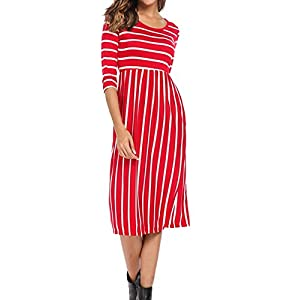 Halife Women's 3 4 Sleeve Stripe Elastic Waist Casual Dress with Pocket
