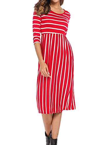 Women's Loose 3/4 Sleeve Midi Shift Below Knee Trapeze Dress Dark Red,S -