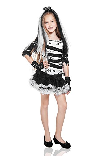 Kids Girls Little Ghost Zombie Poltergeist Spooky Scary Outfit Costume & Dress Up (8-11 years, (Disfraces De Fantasmas Para Halloween)