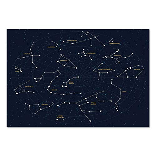 Large Wall Mural Sticker [ Constellation,Sky Map Andromeda Lacerta Cygnus Lyra Hercules Draco Bootes Lynx,Dark Blue Yellow White ] Self-adhesive Vinyl Wallpaper / Removable Modern Decorating Wall Art