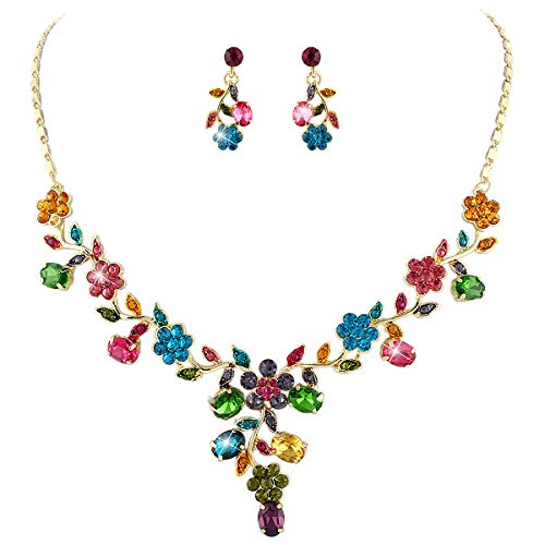 EVER FAITH Flower Leaf Necklace Earrings Set Austrian Crystal Gold-Tone - Multicolor
