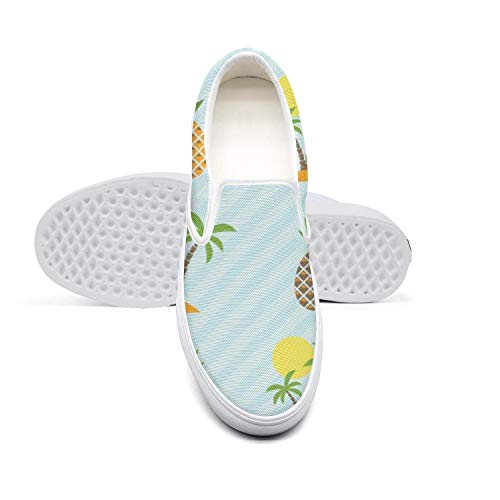 (Island and Pineapple Pattern Women's Shoes Canvas Sneakers White Slip-on Vintage Casual Sneakers Running Shoes)