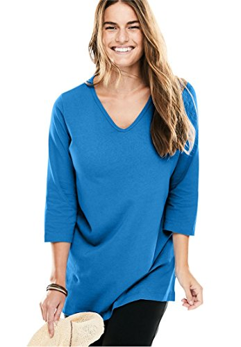 Womens Plus Size Top  The Perfect Tunic With 3 4 Sleeves Light Sapphire 1X