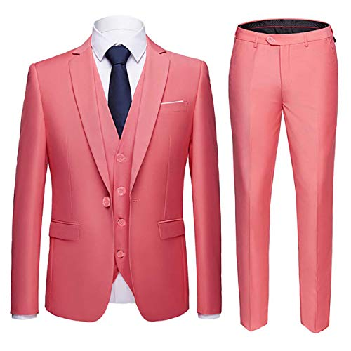 Men's Slim Fit 3 Piece Suit One Button Blazer Tux Vest & Trousers Pink