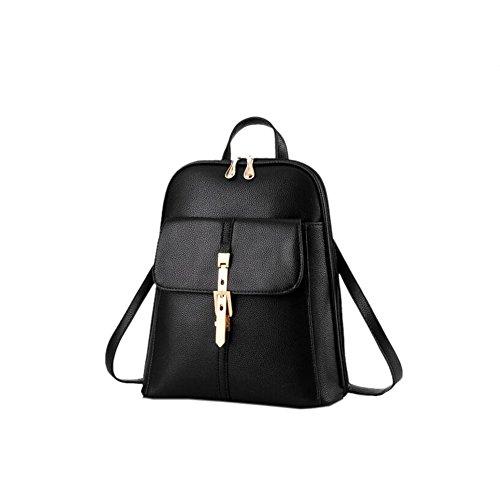 Wewod Mochila Escolar Niña de Moda Mochila de PU Cuero Bolsas Colegio Casual Mochila de Viaje Para Mujer 28 x 33 x 13 cm (L X H x W ) Negro-B