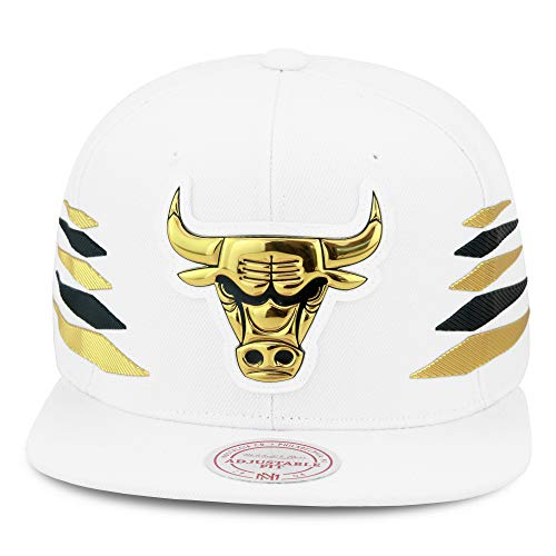 Mitchell & Ness Chicago Bulls Snapback Hat Cap White/Gold & Black Diamond Side/Metallic Foil (Patent Leather) (Mitchell Ness Diamond)