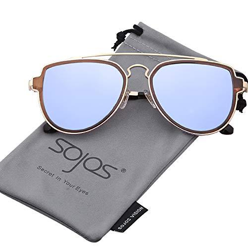 SojoS Gafas De Sol Polarizados Hombres Mujeres Unisex Aviator Clásico Doble Puente SJ1051 Marco Dorado/Lente Espejo...