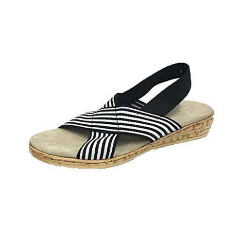 - Atlantic Sling-Back Cork Wedge Sandal - Black Striped - Size 6 - by Charleston Shoe Co.