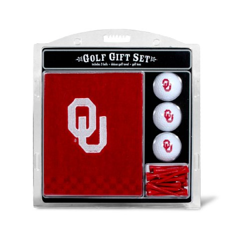 "Team Golf NCAA Oklahoma Sooners Gift Set Embroidered Golf Towel, 3 Golf Balls, and 14 Golf Tees 2-3/4"" Regulation, Tri-Fold Towel 16"" x 22"" & 100% Cotton"