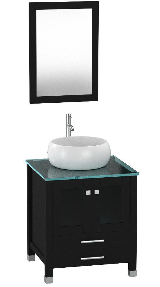 Sliverylake 24 Inch Bathroom Vanity Cabinet Vanities With Vessel Sink And Faucet Combo Black Round Amazon Co Uk Diy Tools