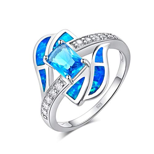 MARRLY.H Ocean Blue Fire Opal Large Filled Finger Rings Silver Plated Cubic Zirconia Crystal Stone Luxury Cocktail Party Jewelry Blue 12