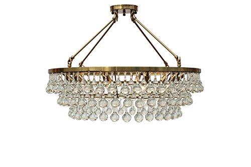 Celeste Flush Mount Glass Drop Crystal Chandelier, Brass (Glass Chandelier Drop)