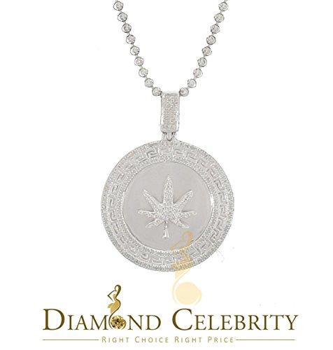 10K White Gold Finish Real 0.33CT Diamond Marjuana Leaf Silver - Leaf Marjuana