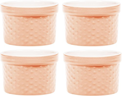 Palais Dinnerware Ramekins Collection Porcelain Soufle Dishes (6 Oz - Set of 4, Peach - Dots Finish) (Glass Pink Table Dressing Set)