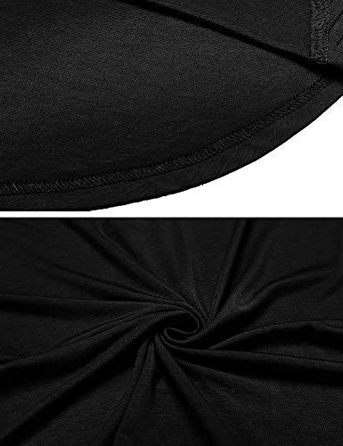 Moda Slim Elegantes Schwarz Verano Color Festivo Ropa Coat V Vintage Sólido Mujer Tops Cuello con Camisas Moda Camisetas Fit Shirts Blusas Cordones Corta Basicas Manga Joven wH4Yfxn