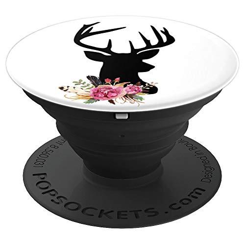 Deer Antlers Watercolor Floral Girly Deer - PopSockets Grip and Stand for Phones and Tablets
