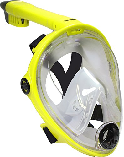 Deep Blue Gear Vista Vue Full Face Snorkeling Mask, Yellow/Clear Silicone, Large/X-Large