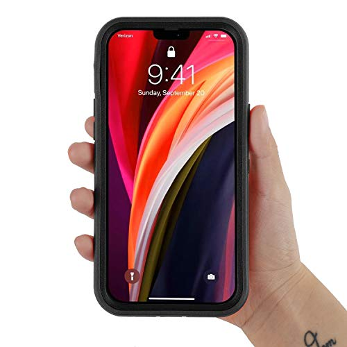 smartelf Compatible with iPhone 12 Mini Case(2020) 5.4 inch,Heavy Duty Shockproof Drop Protecton Hybrid Dual Layer Duable Hard Phone Cover-Black