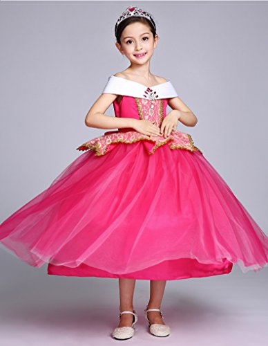 5ca4c8517b6e0 (ホーマイ)HOOMAI プリンセス ドレス ワンピース 女の子 オーロラ姫 風 コスプレ 衣装 子供 ハロウィン クリスマス