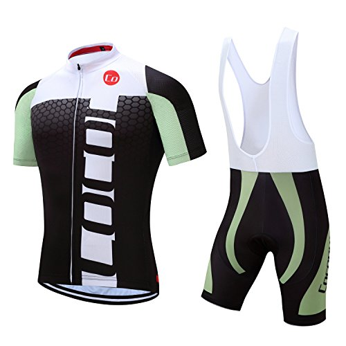 Coconut Ropamo Pro Team Summer Men's Cycling Jersey Set Bib Shorts with 3D Padded Cycling Kits (White/Green, Chest 38-40