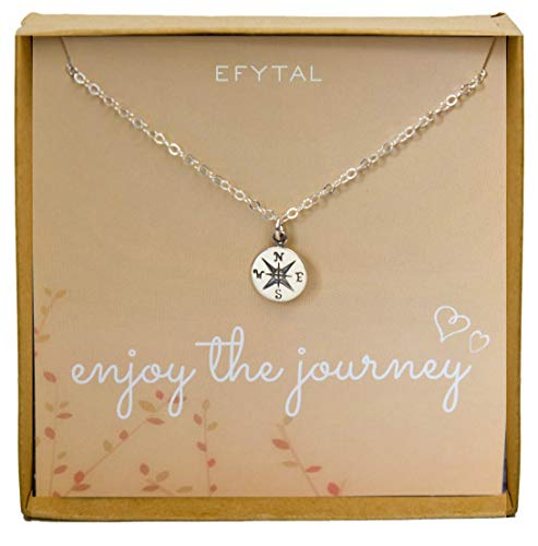 Sterling Silver Compass Necklace on Enjoy The Journey Card, Small Dainty Pendant for Travel, Long Distance, Graduation Gift, -