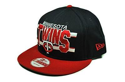 MLB New Era Minnesota Twins Navy Blue-Red Word Stripe 9FIFTY Snapback Adjustable Hat