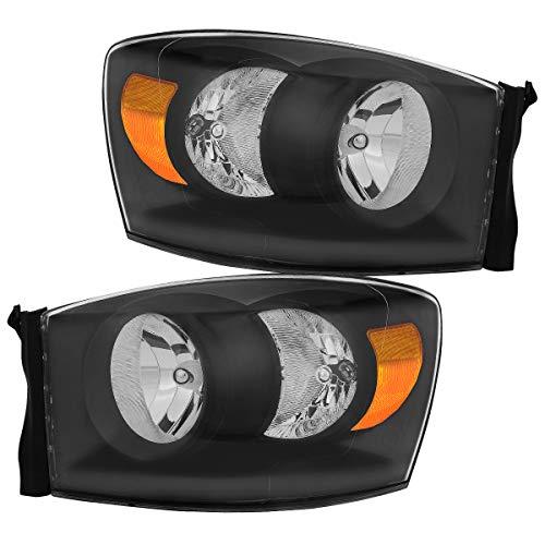 For 2006-2008 Dodge Ram 1500 2500 Headlights, 06-09 Ram 2500 3500 Diamond Black Pickup 4Dr & 2Dr Truck Amber Reflector Clear Lens Headlamps Set (Left+Right), 2-Yr Warranty ()