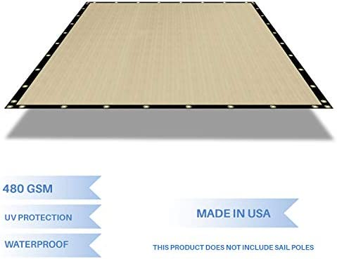 E K Sunrise Waterproof Pergola Replacement Cover Gazebo Canopy Sun Shade Sail Rectangle Shade Cloth Straight Edge Awning Tarp Solid Vinyl UV Block for Porch Patio Balcony 10 x 14 Beige