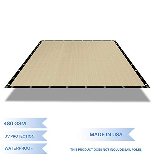 E K Sunrise Waterproof Pergola Replacement Cover Gazebo Canopy Sun Shade Sail Rectangle Shade Cloth Straight Edge Awning Tarp Solid Vinyl UV Block for Porch Patio Balcony 8 x 16 Beige