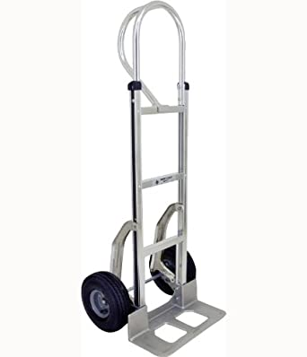 """RWM Casters Aluminum Fixed Hand Truck with Dual Loop Handle, 10"""" Nylon Core/Rubber Wheels, Extruded Aluminum Nose Plate, 500 lbs Load Capacity, 18"""" Width x 9"""" Depth"""