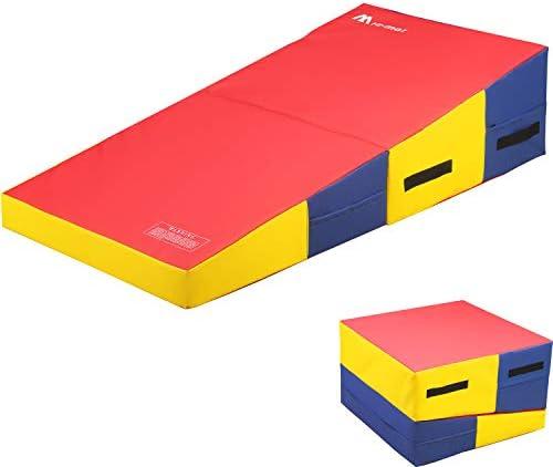 体操マット エクササイズマット 4フィート×8フィート×2インチ タンブリングマット 厚手 折りたたみ ジムマット フィットネス ワークアウトマット PVCカバー キャリーハンドル