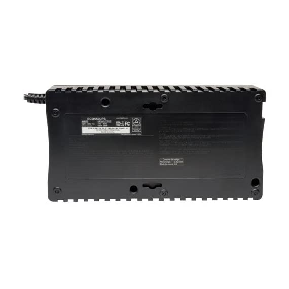 TRIPP LITE DisplayPort 10 5 Standby Battery Back Up: 550 VA 300W 120V ultra-compact desktop Uninterruptable Power Supply (UPS) with energy-saving ECO outlets ECO option turns off set of three outlets when the computer is not in use NEMA 5-15P input plug and 8 NEMA 5-15R outlets (4 battery supported, 4 surge-only)