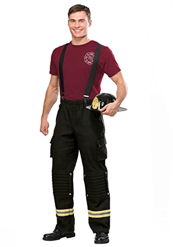 Firefighter Adult Costume Men's Fire Captain Costume Medium Black ()