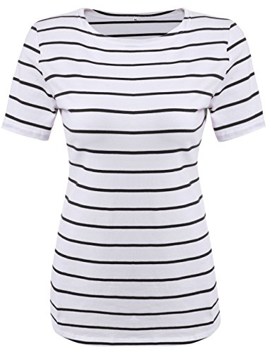 (POGTMM Women Striped Short Sleeve T-Shirt Tops Tee (XL, Black and White Stripes))