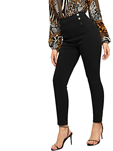 Romwe Women's Casual Button High Waist Zip Skinny Stretch Fit Pants Black X-Large