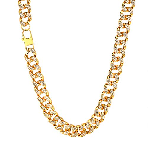 U7 Iced Out Miami Cuban Link Chain 14MM Chunky Big Gold Chains Necklace for Rapper ()