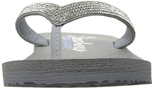 Skechers Meditation Break Water, Tongs Femme, Noir Light Grey Rhinestone