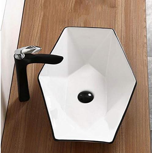 洗面ボール バスルームダイヤモンド型黒と白の磁器の上カウンター容器シンクアート盆地 洗面器 (Color : Black/white, Size : 57x37x12cm)