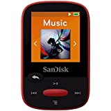 SanDisk Clip Sport 4GB MP3 Player, Red With LCD Screen and MicroSDHC Card Slot- SDMX24-004G-G46R