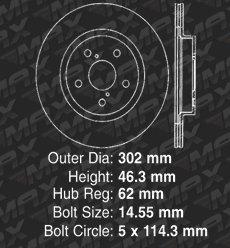 OE Series Rotors + Ceramic Pads Fits: 1996 96 1997 97 1998 98 1999 99 2000 00 Toyota Rav4 Max Brakes Front Premium Brake Kit KT124641