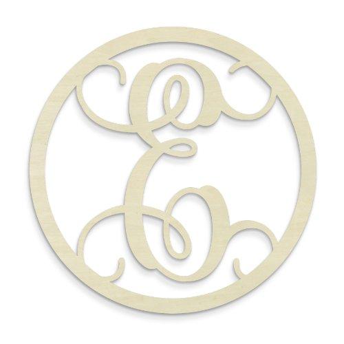 UNFINISHEDWOODCO Single Letter Circle Monogram-E, 19-Inch, Unfinished