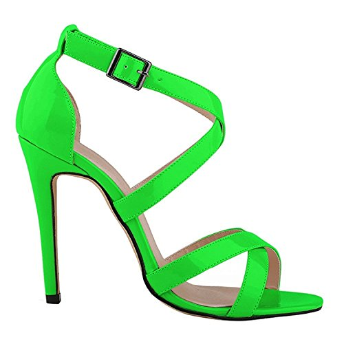 Green Heels High Women's oppicong Chic Patent PU Sandals Strap Ankle Pumps Leather q4PqSwp