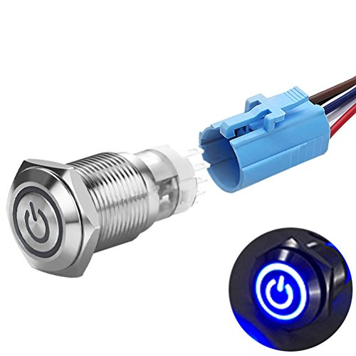 Quentacy 16mm Latching Push Button Switches 12V Power Symbol Ring LED Silver Stainless Steel 1NO1NC SPDT ON/OFF Toggle Switch with Socket Plug Wire for 5/8