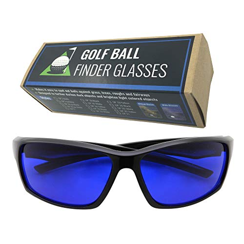 - grinderPUNCH Tinted Golf Ball Finder Glasses | Sporty Blue Lens, Wrap Around Sunglasses | 100% UV Protection (Black)