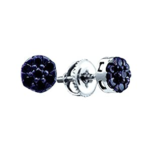 10kt White Gold Womens Round Black Colored Diamond Cluster Screwback Earrings 3/8 Cttw