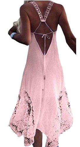 Jaycargogo Sangle Femmes Dentelle Dos Nu Manches Robe Maxi Robe D'été Bohème Rose