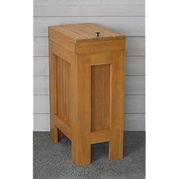 Wood Wooden Trash Bin Kitchen Garbage Can 13 Gallon , Recycle Bin, Dog Food  Storage , Harvest Gold Stain   Supreme Pine   Rustic   Metal Knob    Handmade In ...
