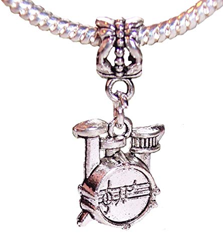 Drum Set Musical Instrument Rock Band Drummer Music Dangle Charm for Bracelets Jewelry Making Supply by Wholesale Charms